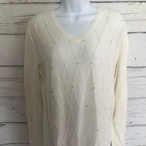 Liz Claiborne Sweaters - Liz Claiborne Ivory/rhinestones pullover size L-T